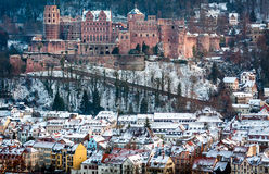 Heidelberg castle and old town. View over Heidelberg castle and the old town covered in snow Stock Photography