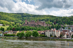 Heidelberg Castle and Town on Bank of Neckar River Royalty Free Stock Photo