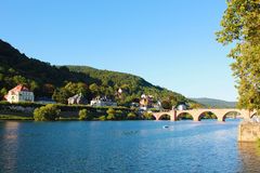 Heidelberg city, Germany. The river and the old bridge of    Heidelberg, one of the most visited cities in Germany Royalty Free Stock Image