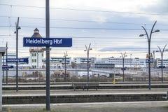 Heidelberg, Deutschland - 11. Februar 2018: Zeichen des Heidelberg-Hauptanschlusses Lizenzfreie Stockbilder