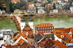 Heidelberg downtown view at Neckar Riverside Royalty Free Stock Photo