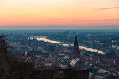 Heidelberg en la puesta del sol Fotografía de archivo