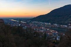 Heidelberg en la puesta del sol Imágenes de archivo libres de regalías