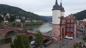 Heidelberg. With the famous bridge of love from the right side Royalty Free Stock Photography