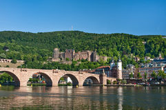 Heidelberg, Germany. View of Heidelberg castle and bridge from across the river in Heidelberg, Germany stock image