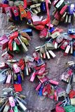 Close Up of `Eternal Love Locks` in Heidelberg Germany. Heidelberg, Germany - Aug 2015: Close up of many `love` locks attached to the love stone at Carl Theodore royalty free stock photography