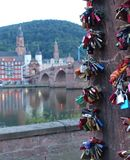 Close up of Love Locks with Heidelburg in background royalty free stock images