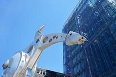 Head of steel sculpture called `S-Printing Horse`, one of the worlds biggest horse sculptures by sculptor Jürgen Goertz