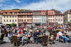 Heidelberg, Germany - May 6, 2017: Marketplace crowded with tour Stock Photos