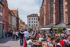 Heidelberg, Germany - May 6, 2017: Marketplace crowded with tour Stock Photography