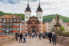 Heidelberg, Germany - May 6, 2017: Marketplace crowded with tour Royalty Free Stock Photos