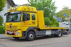 Yellow breakdown van of  General German Automobile Club called `ADAC` royalty free stock photos