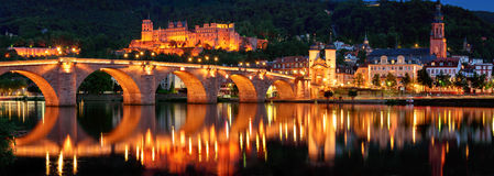 Heidelberg, Germany, night panorama Stock Photos