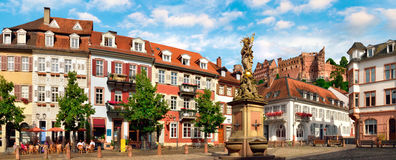 Heidelberg Kornmarkt Panorama Stock Photography