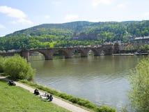 Heidelberg med gamla Bridhe och slotten Arkivbild