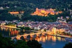 Heidelberg, Niemcy, przy błękitną godziną zdjęcie stock