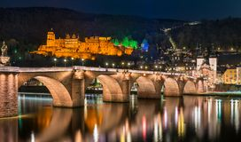 Heidelberg at night, Germany Royalty Free Stock Images