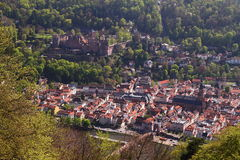 Heidelberg Old City and Festung. Downward view of old Heidelberg City and Festung Stock Image