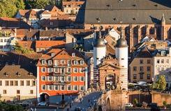 Heidelberg Old Town. Heidelberg, Germany - July 21, 2015: View of old bridge and old town of Heidelberg Stock Photo
