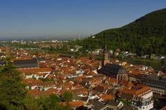 Heidelberg - oude stad (Altstadt), mening van hierboven Stock Fotografie