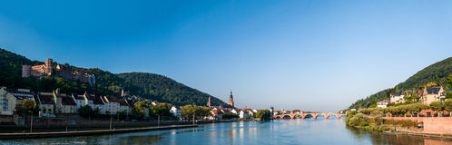 Heidelberg Panorama. Panorama of Heidelberg with the castle the Heiliggeistkirche, the Old Bridge, and parts of the old city Royalty Free Stock Photography
