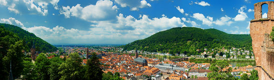 Heidelberg Panorama from Heidelberg castle. Unesco Heidelberg Panorama from Heidelberg castle with river Neckar Royalty Free Stock Image