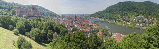 Heidelberg. Panoramic view at castle and town of Heidelberg Stock Image