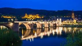 Heidelberg przy nocą Zdjęcia Royalty Free