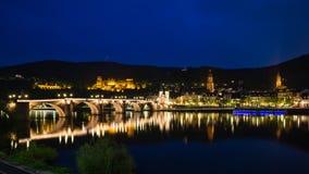 Heidelberg przy nocą Zdjęcie Royalty Free