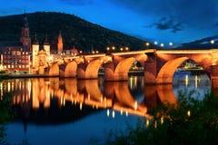 Heidelberg's Old Bridge at twilight Stock Images