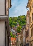 Heidelberg-Schloss von der alten Stadt Lizenzfreies Stockfoto