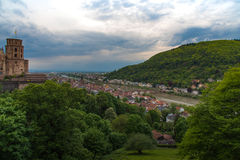 Heidelberg-Sonnenuntergang vom Hügel Lizenzfreies Stockbild