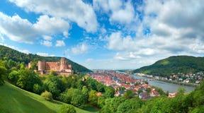 Heidelberg town in Germany and ruins of Heidelberg Castle in Spr Stock Image