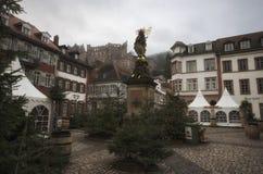 Heidelberg/Tyskland - Januari 1 - 2016: Marknadsplats på dagen för nytt år på Heidelberg arkivbilder