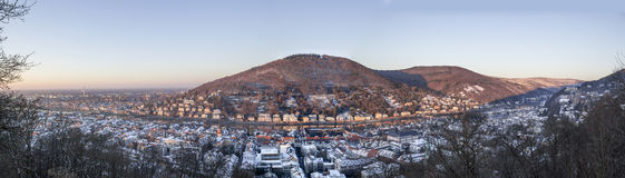 Heidelberg in winter panorama Stock Image
