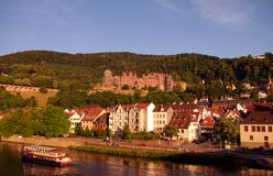 Heidelberger Castle and a tourist ship Stock Photos