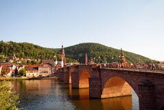 Heidelberger Old Bridge, city gate and people Stock Photo