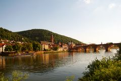 Heidelberger Old Bridge and Neckar at summer Royalty Free Stock Photo