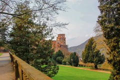 Heidelburg Castle. Looking through the gardens to the ruins of Heidelberg Castle, Germany Stock Photo