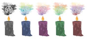 Heidense pentacle kaarsen stock illustratie
