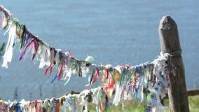 Heidense symbolen kleurrijke doek voor geesten stock videobeelden