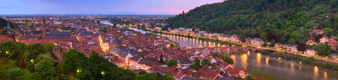 Heiderberg old town illuminated  in the evening Stock Images