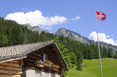 Heidi Alp in Maienfeld, Zwitserland stock foto's