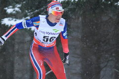 Heidi Weng - cross country skiing. Heidi Weng  from Norway in women 10 km race within cross country world cup held on Nove Mesto na Morave on 23.1.2015 Royalty Free Stock Images