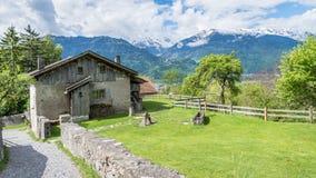 Heididorf, il villaggio di Heidi in alpi svizzere, Svizzera Fotografia Stock Libera da Diritti