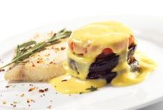 Heiße Fischgerichte - Sohle mit Zucchini Stockfoto