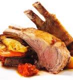 Heiße Fleisch-Teller - Bone-in Lamm Stockbild