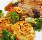 Heiße Fleisch-Teller - Bone-in Schweinefleisch-Bruststück Stockbild
