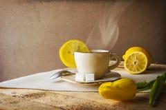 Heiße Tasse Tee des Stilllebens Zitronen Stockfoto