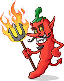 Heißer Chili Pepper Devil Cartoon Character Stockfotos